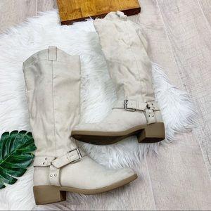 Shoe Dazzle Leecea White Buckle Mid Calf Boot 3361